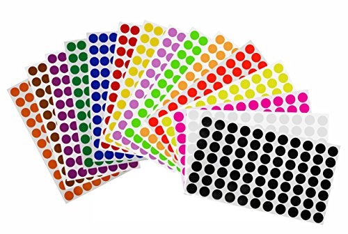 Labels Removable Adhesive in 15 Assorted Colors 15mm Round dot Stickers for Color Coding - 1155 Pack by Royal Green ()