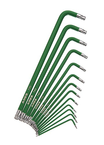 High Polished Star - ARES 70166 | 13-Piece Extra Long Arm Star Key Wrench Set | Chrome Finish with Green High Visibility Anti-Slip Coating | Convenient Storage Case Included