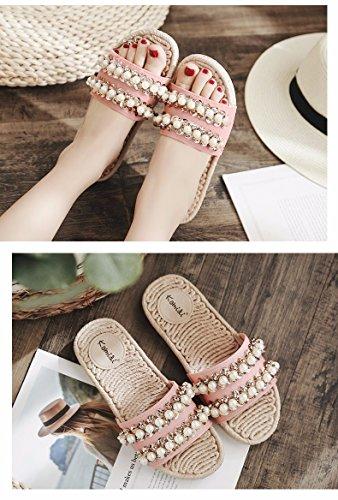 XIAOGEGE Xiaogee Zapatillas de verano para mujer al aire libre remolque playa zapatos rosa