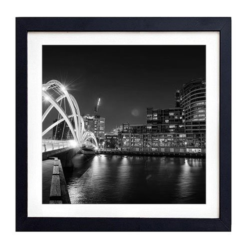 Bridge in melbourne - Art Print Black Wood Framed Wall Art Picture For Home Decoration - Black and White 18