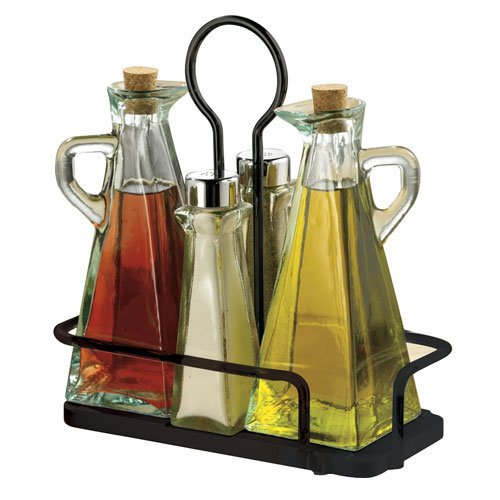 Tablecraft Marbella Oil & Vinegar & Salt & Pepper Set with Metal Rack | Tabletop Display Rack | Commerical Quality for Restaurant Use