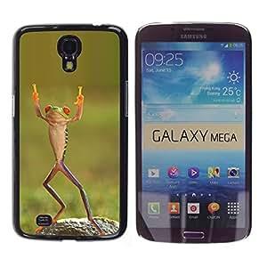 Rana feliz del baile tropical verde Ninja- Metal de aluminio y de plástico duro Caja del teléfono - Negro - Samsung Galaxy Mega 6.3