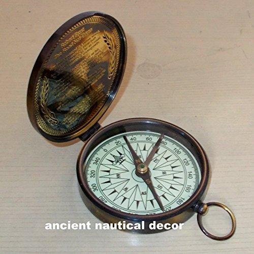 ヴィンテージ航海真鍮コンパス刻印アンティークコンパス3
