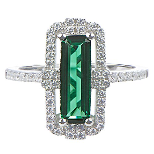 Baguette Cut Engagement Ring - Green Baguette Cut Engagement Ring