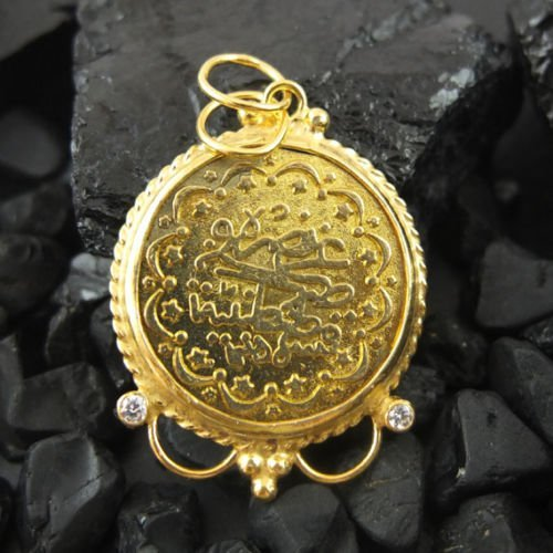 Ancient Design Handmade Ancient Ottoman Design Coin Pendant 22K Gold over 925K Sterling Silver ()