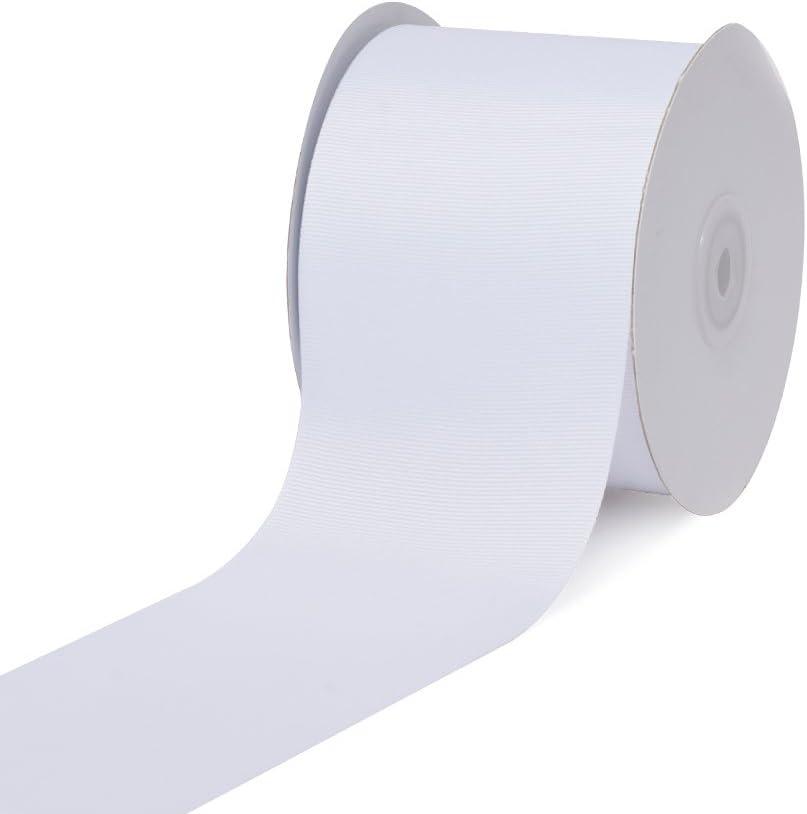 """Creative Ideas, 3"""" Inch Solid Grosgrain Ribbon, 25 Yards, White, 25 yd"""