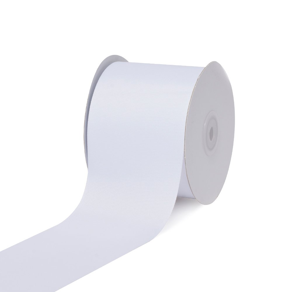 Creative Ideas 3'' Inch Solid Grosgrain Ribbon, 25 Yards, White, 25 yd, by Creative Ideas