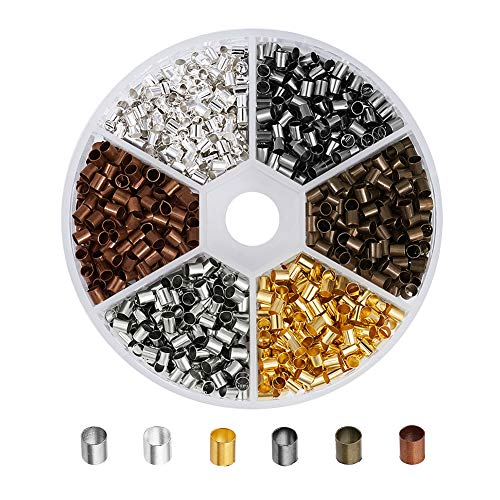 Pandahall 1200pcs/box 6 Colors Brass Crimp Beads Tube Crimp End Beads Tiny Column Lined Spacer Antique Bronze & Red Copper & Golden & Silver & Platinum & Black