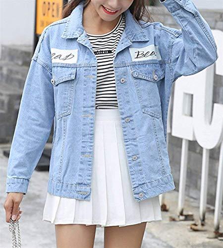 Sciolto Bavero Giaccone Lunga Donna Stampati Jeans Denim College Cappotto Primaverile Digitale Chic Manica Eleganti Als Casuale Jacket Bild Fashion Autunno Ragazza YO1wa