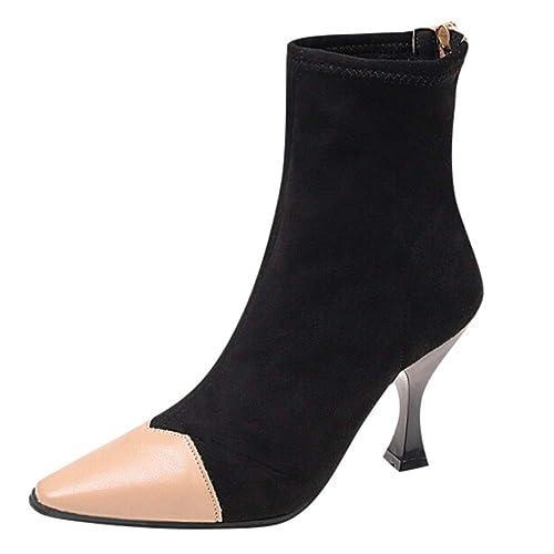 Botines Acentuados De Gamuza OHQ para Mujer Botines Antideslizantes con Cremallera Y TacóN Alto Martin: Amazon.es: Zapatos y complementos