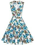 MUXXN Women's Retro Audrey Hepburn Style V Neck Swing Dress (Large FloralBlue S)