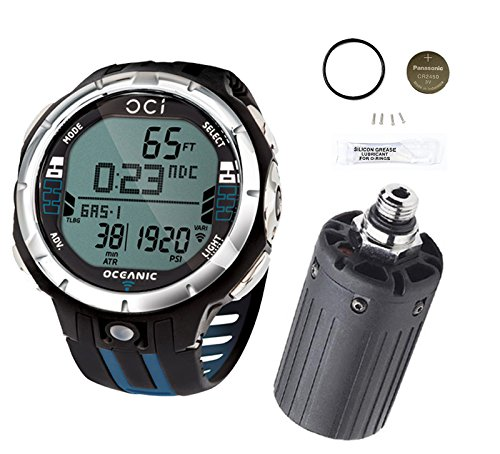 Oceanic OCi Wireless Dive Watch Computer Blue with Transmitter and Battery Kit