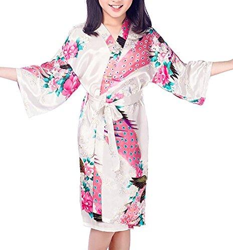 Admireme Girls' Peacock Satin Kimono Robe Bathrobe Nightgown for Spa Party Wedding Birthday White]()