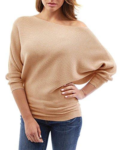 Shirt Jumper a Tinta Unita Cime T Pullover Moda JackenLOVE Bluse Obliquo Maglione Tops Marrone Donna Maglieria Spalla Chic e Pipistrello Autunno Maglietta Manica Inverno TSwq4v0