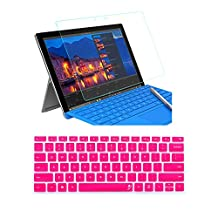 ProElife 2 in 1 9H Premium Curvy Border Glass Tempered Glass Screen Protector&1 PCS Hot Pink Silicone Keyboard Cover for Microsoft Surface Pro 4 12.3 inch