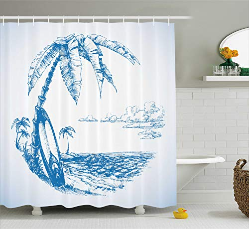 Ambesonne Surf Decor Shower Curtain Set, Contemporary Sketch Illustration of Hawaiian Beach with Surfboard Palm Tree and Ocean Water, Bathroom Accessories, 69W X 70L inches, Blue White