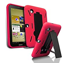 Samsung Galaxy Tab 2 7.0 Case- Kuteck Hybrid Armor Series Shockproof Case Cover & Stand for Samsung Galaxy Tab 2 7.0 inch Tablet P3100, Bouns 1x Stylus Pen (Red)