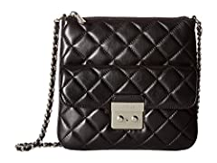 MICHAEL Michael Kors Womens Sloan Leather Quilted Crossbody Handbag Black Small