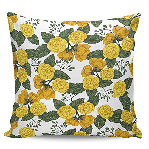 OUR WINGS Hand-Printed Art Yellow Petal Flower Decorative Square Throw Pillow Covers Cushion Case for Home Sofa Bedroom Office Car 26