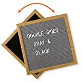 #2: Double Sided Black and Gray Felt Letter Board with Block Stand and 600 Characters. 10x10 Inch Open Face Changeable Letter Sign made from American Oak Wood.