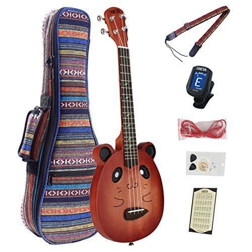UBETA UT-26 Mahogany Electric Tenor Red EQ Ukulele Bundle with Gig bag, tuner,picks,Aquila nylon strings, chord card ,red electric line and strap by UBETA