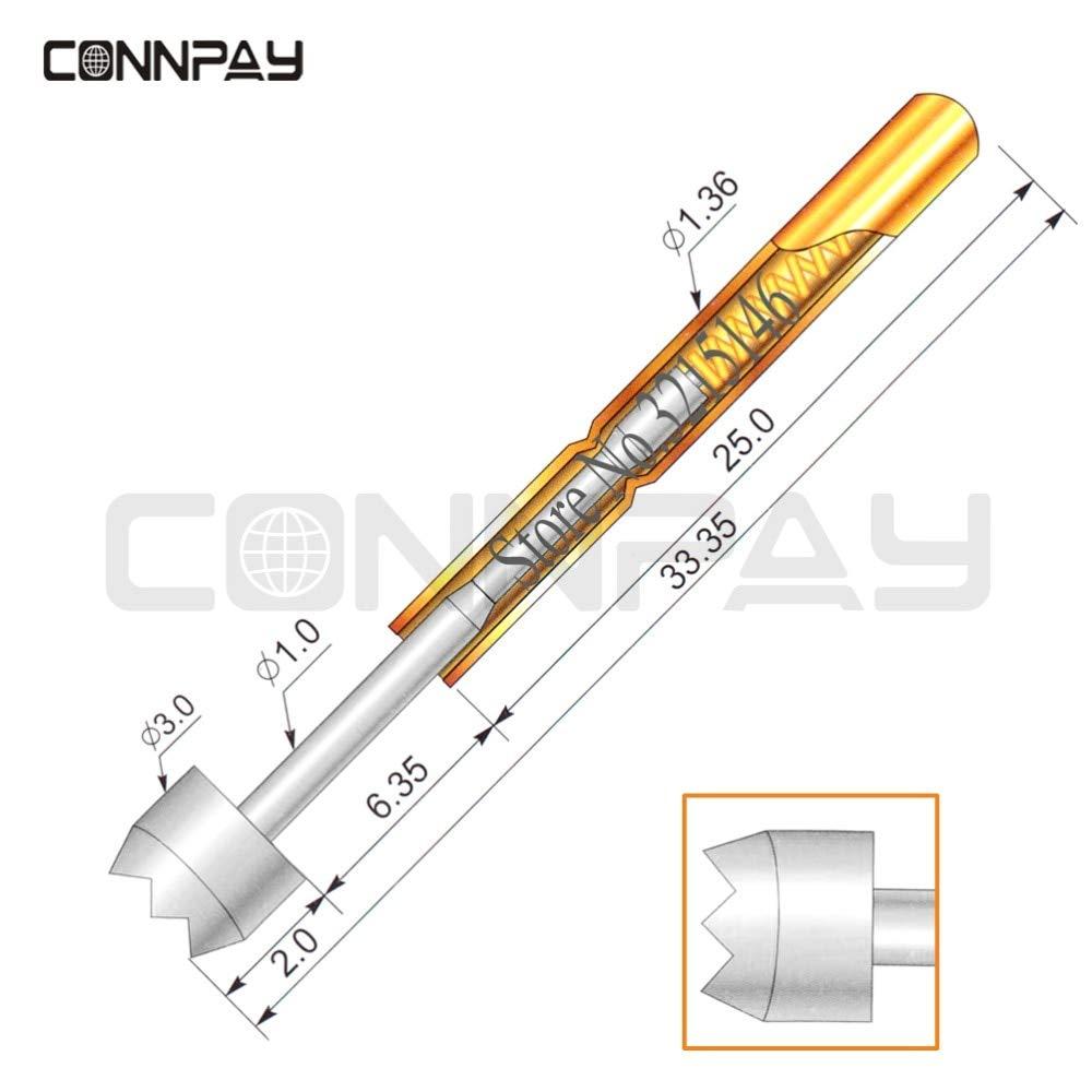 300pcs//lot P100-H6 Dia 3.0mm spring test probes pogo pin Length 33.35mm 180g