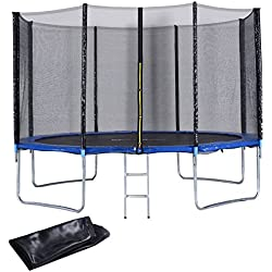 Giantex 12 FT Trampoline Combo Bounce Jump Outdoor Trampoline for Family School Entertainment W/Safety Enclosure Net Spring Pad Ladder Rain Cover (12 FT)