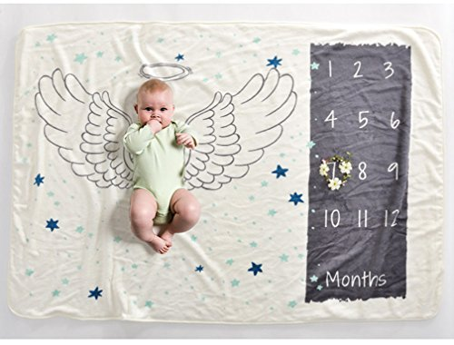Soft Fleece Milestone Blanket Monthly Photo Prop for Baby Won't Wrinkle like Muslin Perfect for New Moms Large Size 30''x40.3'' (angle) by WHYQZ (Image #1)