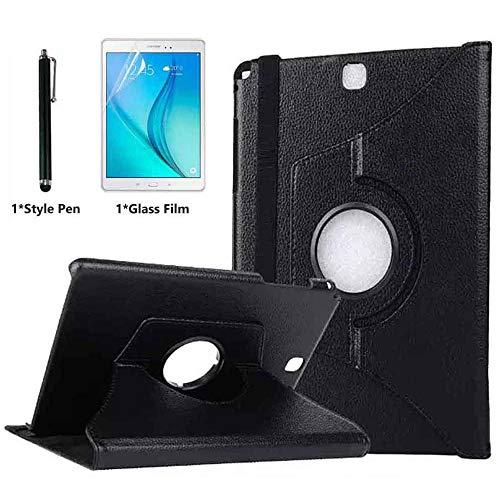 Case for Samsung Galaxy Tab A 9.7 inch (SM-P550 SM-T550 SM-T555) - 360 Degree Rotating Folio Stand Case Smart Protective Cover with Auto Wake/Sleep,Bonus Stylus Pen,Screen Film (Black)