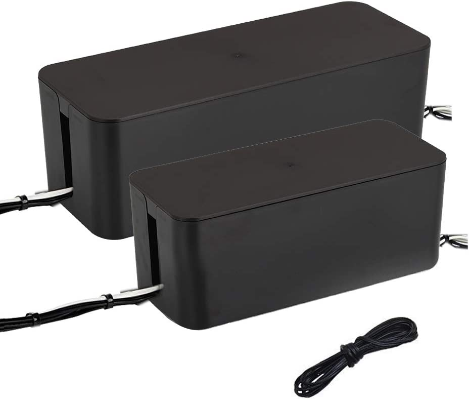 MEETWARM Cable Management Boxes Organizer, Large Storage Holder for Desk, TV, Computer, USB Hub, System to Cover and Hide Power Strips Cords, Set of 2 (Black)