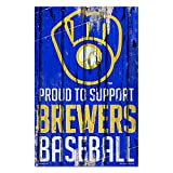 """WinCraft Milwaukee Brewers Proud 11"""" x 17"""" Wood Sign"""