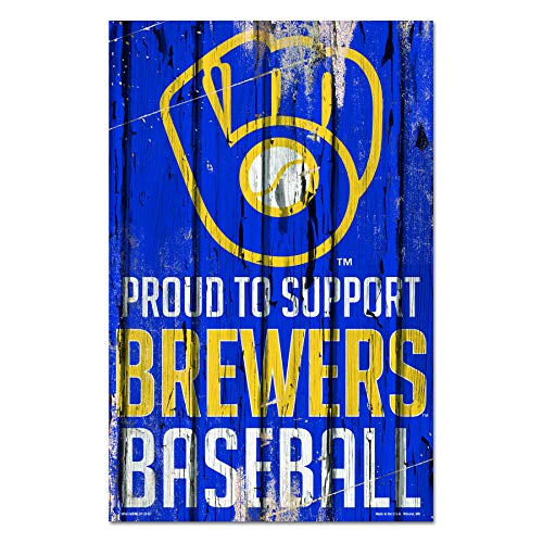 WinCraft MLB Milwaukee Brewers Sports Fan Home Decor, Team Color, 11x17