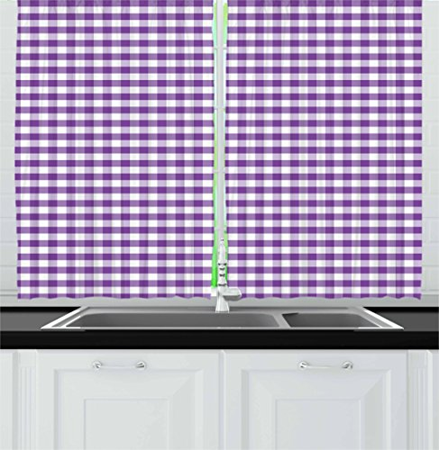 Ambesonne Checkered Kitchen Curtains, Purple and White Colored Gingham Checks Rows Picnic Theme Vintage Style Print, Window Drapes 2 Panel Set for Kitchen Cafe, 55 W X 39 L Inches, Purple White