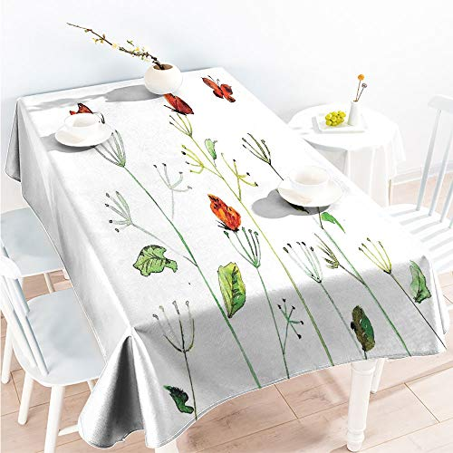 ScottDecor Indoor Outdoor Tablecloth Rectangular Table Covers Wildflower Garden with Butterflies Summertime Joy Happiness Theme Artwork W 60