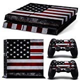 Ambur® PS4 Console Designer Skin for Sony PlayStation 4 System plus Two(2) Decals for: PS4 Dualshock Controller --- ps4 skin american flag Deisgn