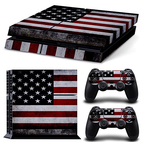 Ambur® PS4 Console Designer Skin for Sony PlayStation 4 System plus Two(2) Decals for: PS4 Dualshock Controller --- ps4 skin american flag - Planet Order Blue Pre 2