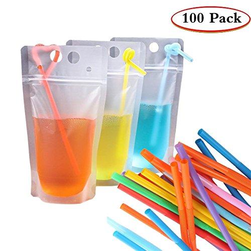 d80b27f96566 GuangTouL Clear Drink Pouches,100Pcs Drink Juice Pouches Bags+ 100 ...