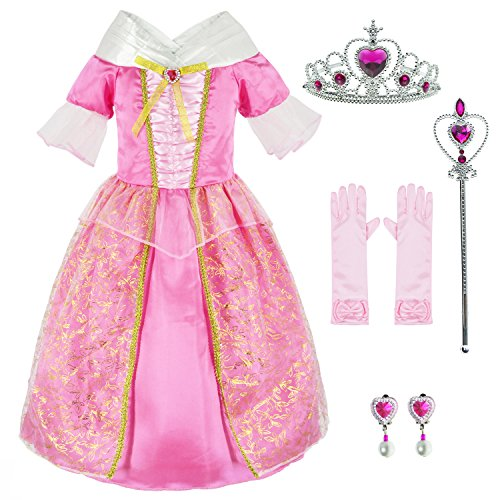 Sleeping Beauty Princess Aurora Costume Girls Birthday Party Dress Up With Accessories 6-7 Years (Style1 130CM)