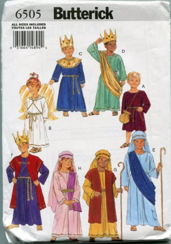 Butterick Sewing Pattern 6505 Nativity Christmas Costumes Children's Sizes XS-L (4-14)