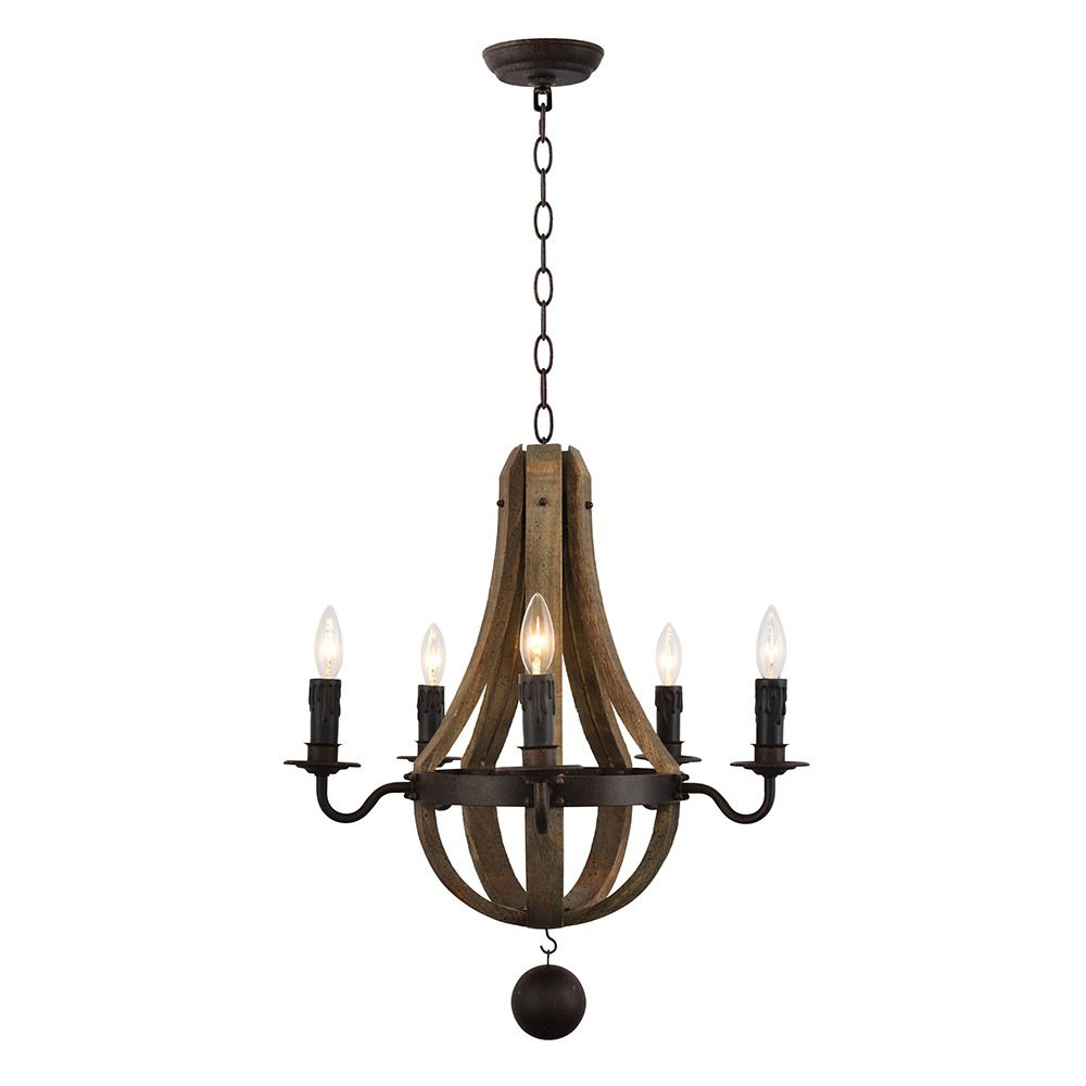 Amazon.com: PHILOMENA American Rusted Wooden Pendant Lamp Antique Candle  New Style 8020 5: Kitchen U0026 Dining
