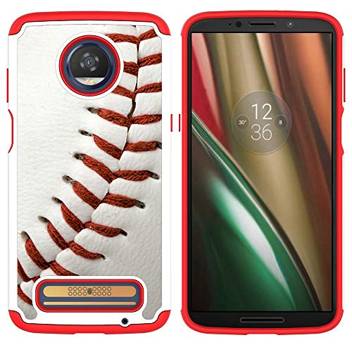 Moto Z3 Case,Moto Z3 Play Case - Baseball Sports Pattern Shock-Absorption Hard PC and Inner Silicone Hybrid Dual Layer Armor Defender Protective Case Cover for Motorola Z Play (3th Generation) ()