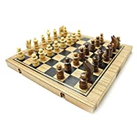 Handmade 3in1 Wooden Chess, Backgammon Checker Set, Small Wooden Puzzles for Adults
