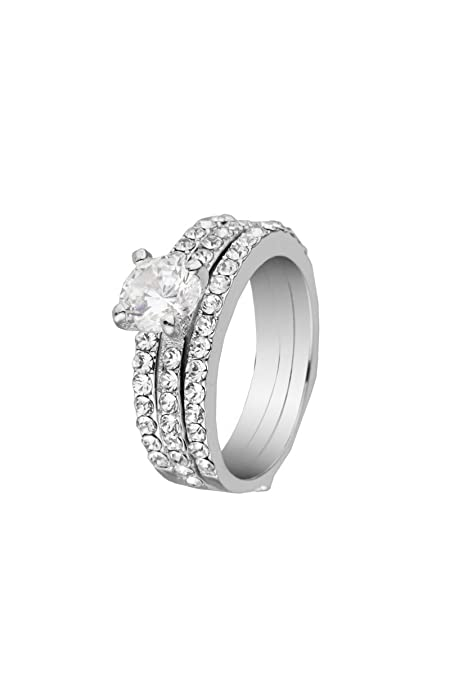 Amazon rhodium plated double wedding band and solitaire rhodium plated double wedding band and solitaire engagement ring 1pc set with crystals from swarovski junglespirit Images