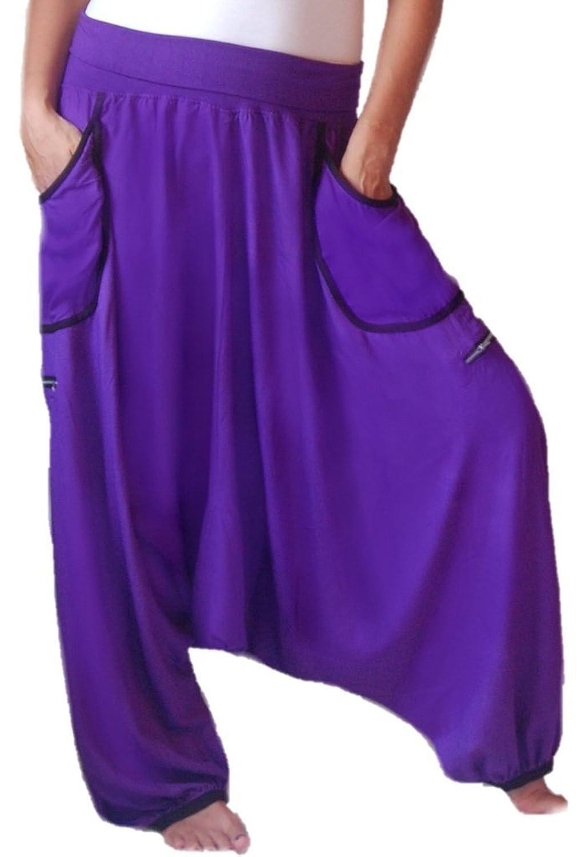 Lotustraders Pant Stretch Waist Drop Crotch Wide Leg Pocket E9920