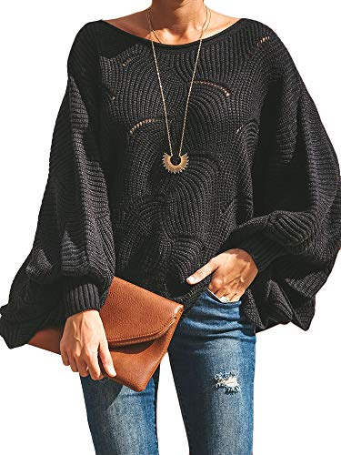 Msikiver Womens Oversized Pullover Sweater Batwing Sleeve Crochet Hollow Out Knit Jumper Cape Black (Hollow Out Pullover)