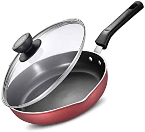 QPLKKMOI Seasoned Frying Pans With Lid,Nonstick 11-Inch Skillet With Glass Cover, Red