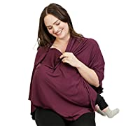 bamboobies Nursing Cover Shawl Scarf Maternity Poncho Top for Breastfeeding and Baby Car Seat Cover, Blackberry