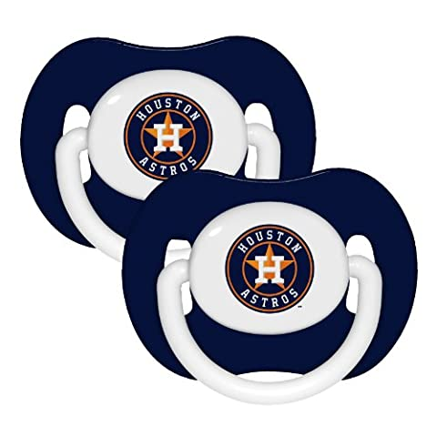 MLB Houston Astros Pacifiers, 2-Pack (Houston Astros Baby Set)