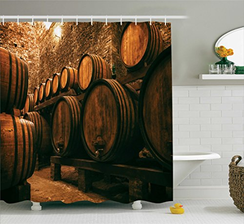 or Collection, Barrels for Storage of Wine Italy Oak Container in Cold Dark Underground Cellar , Polyester Fabric Bathroom Shower Curtain Set with Hooks, Sienna Peru Brown (Package Wine Cellar)