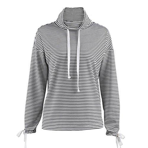 ... Sweatshirt damen Kolylong® Frauen Elegant Streifen Rundhals Sweatshirt  Herbst Winter Locker Langarm Bluse Sport Pullover d6ba758f15